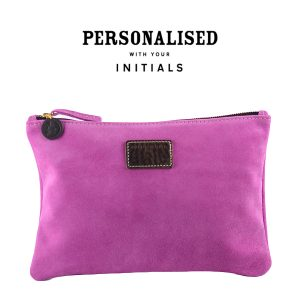 suede clutch in passion