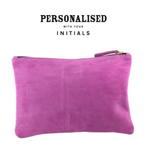 suede clutch in passion back