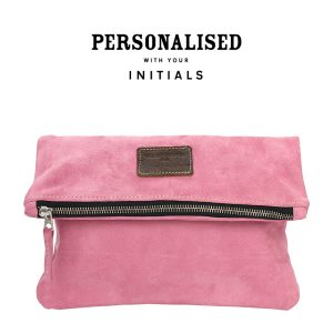foldover suede clutch pink